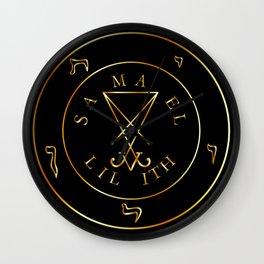 Sigil of Lucifer, sigil of Baphomet, Samael, Lilith golden pentagram Wall Clock