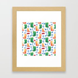 Colorful orange blue green watercolor cute wellies boots Framed Art Print