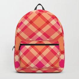 Large Modern Plaid, Orange, Coral and Fuchsia Pink Backpack