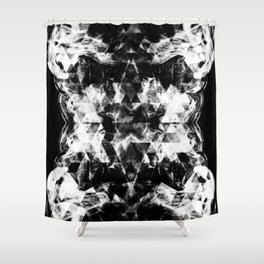 Electrifying black and white sparkly triangle flames Shower Curtain
