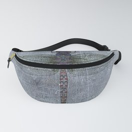 Dragonfly on blue stone and metal background Fanny Pack