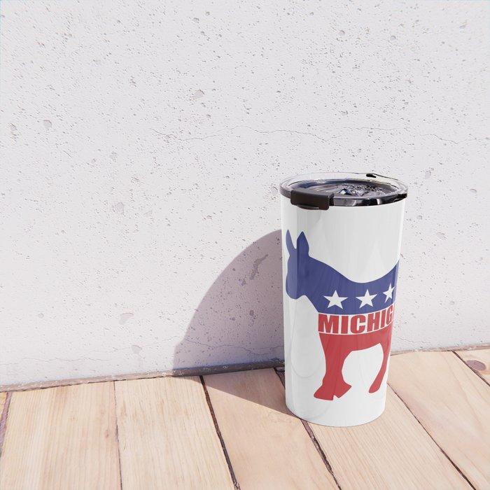 Michigan Democrat Donkey Travel Mug
