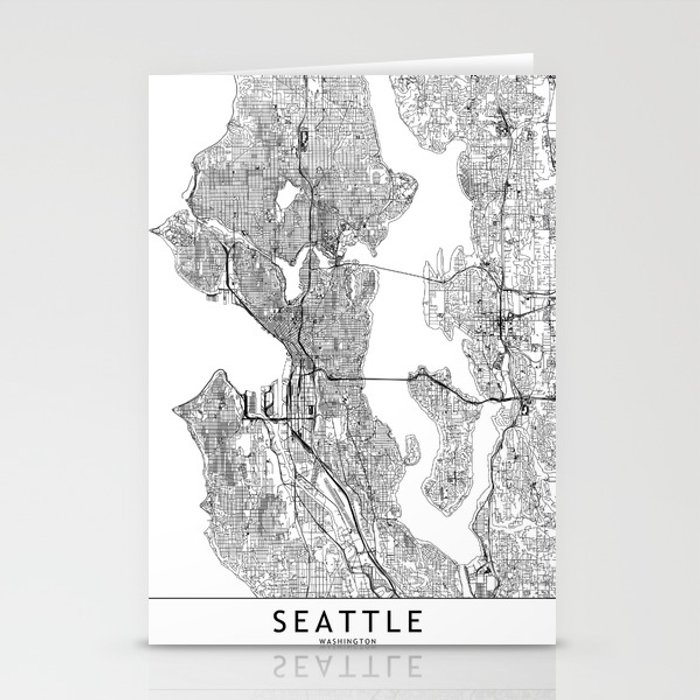Seattle White Map Stationery Cards