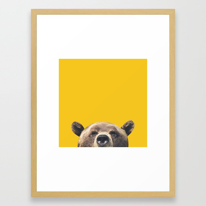 Bear - Yellow Framed Art Print