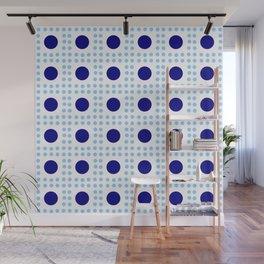 new polka dot 9 - dark and light blue Wall Mural