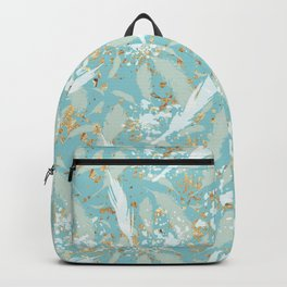 Golden Peacock Feather Pattern 04 Backpack