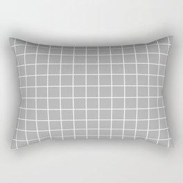 Dark medium gray - grey color - White Lines Grid Pattern Rectangular Pillow