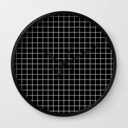 Black and White Geometric Grid Print Wall Clock