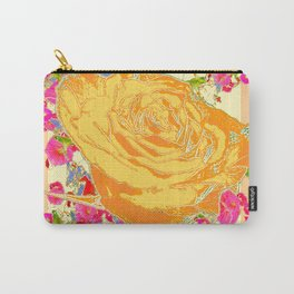 CORAL COLOR ART &  ORANGE ROSE PINK  FLOWERS  DESIGN Carry-All Pouch