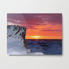 Golden Sunset on Sea and  Snow Metal Print