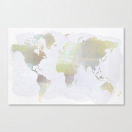Watercolored World Map Canvas Print