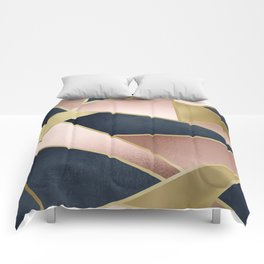 Rose Gold, Pink and Navy Blue Modern Geometric Pattern Comforters