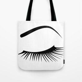 Closed Eyelashes Left Eye Tote Bag