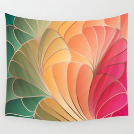 Pink Yellow Green Art Nouveau Wall Tapestry