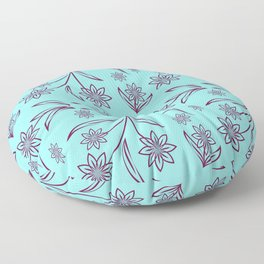 pattern with leaves and flowers linocut style Floor Pillow