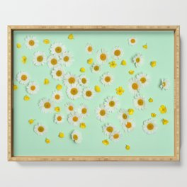 Composition of daisies and buttercups Serving Tray