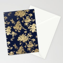 Elegant vintage navy blue faux gold flowers Stationery Cards