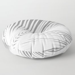 Large Palm Leaf, Grey / Gray and White Floor Pillow
