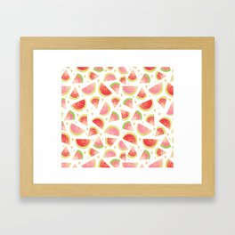 Pink & Gold Watermelon Slices Framed Art Print