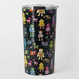 Robots in Space - on black Travel Mug