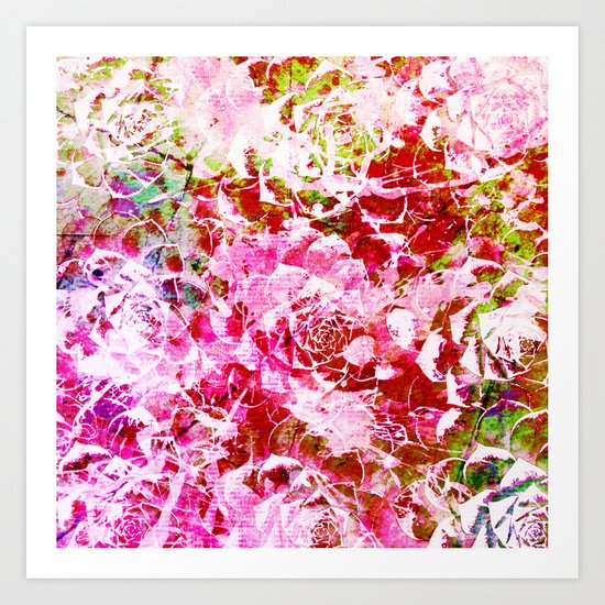 abstract succulent in pink Art Print