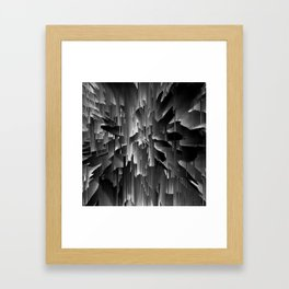 Flowers Exploding with Dots in Black and White Framed Art Print