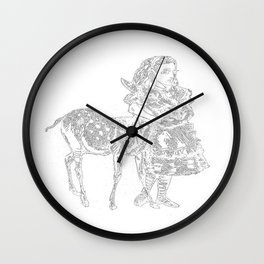 Alice and the Fawn in White Wall Clock