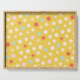 Vintage Christmas Wrapping Paper Pattern Design Mustard Stars & Dots Serving Tray