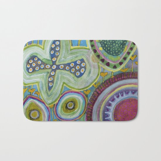 Peaceful Heartfelt Flower Power Bath Mat