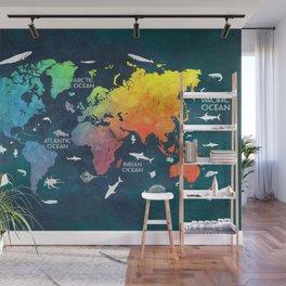 Ocean World Map color #map #worldmap Wall Mural