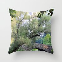 central park Throw Pillows featuring Central Park by Elizabeth Chung