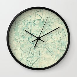 Rome Map Blue Vintage Wall Clock