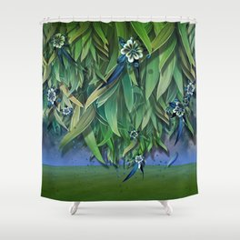"""Spring Forest of Surreal Leaf litter and flowers"" Shower Curtain"