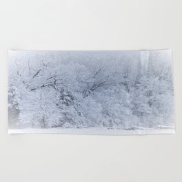 First Snow Fall Fresh Snow on Trees Nature Photography ~ Winter Hush Beach Towel