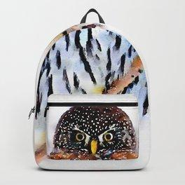 Winter Owl Watercolor Backpack