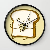 bread Wall Clocks featuring Bread & Butter by Robo Rat