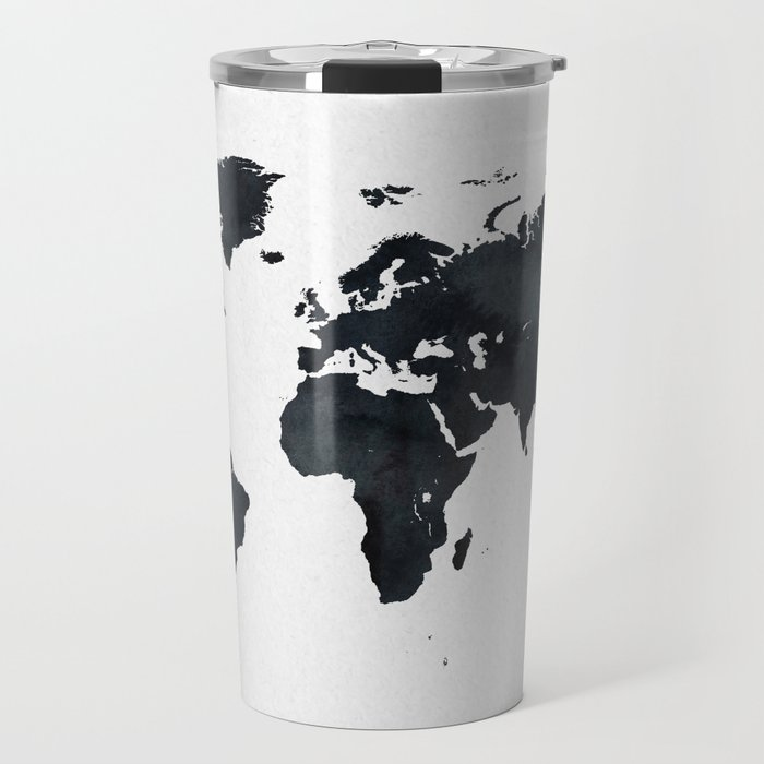 World Map in Black and White Ink on Paper Travel Mug