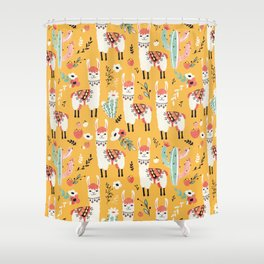 White Llama with flowers Shower Curtain