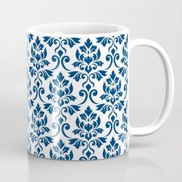 Feuille Damask Pattern Dark Blue on White Coffee Mug