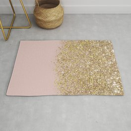 Pink and Gold Glitter Rug