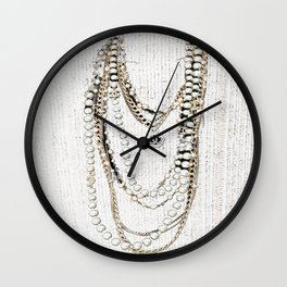 vintage white gold necklace Wall Clock