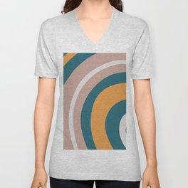 🤍, Retro Art, Teal and Orange, Geometric Art Unisex V-Neck