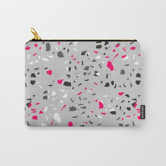 Terrazo grey pink black and white minimal pattern urban modern edgy trendy socal bklyn austin  Carry-All Pouch