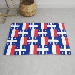 Mix of flag: France and Quebec Rug