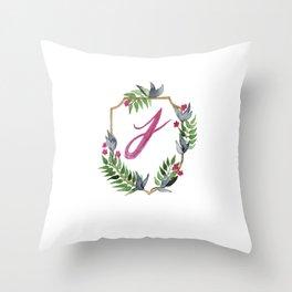 Jungle Gold Monogram Crest J Throw Pillow