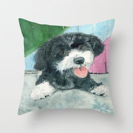 Sammy the Parti-poodle Pup Throw Pillow