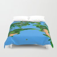 final fantasy Duvet Covers featuring Final Fantasy II Japanese Overworld by Lotito Designs
