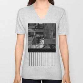 B&W II - Black and white, abstract, contrasting pattern Unisex V-Neck