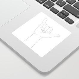 Minimal Line Art Shaka Hand Gesture Sticker