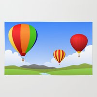 hot air balloons Area & Throw Rugs featuring Hot Air Balloons by Henry Meadowlark